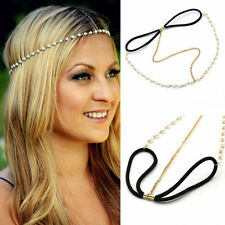 Boho Women Head Chain Pearl Forehead HeadPiece HairBand Hair Accessories Beauty