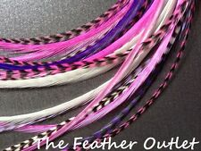 Lot 10 Grizzly Feathers Hair Extensions long skinny Natural Pink Purple GIRLY