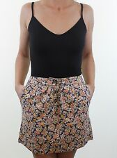 JACK WILLS grey floral button through mini skirt size 12 euro 40