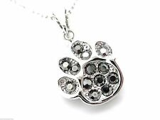 Puppy Paw Crystal Pendant Women's or Girls Necklace Groomer Gift