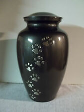 Large Brass Cremation Pet Urn ~Slate w/Pewter Walking Paws~ up to 200 lbs