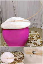 30s Pale Dove Grey Velvet Pink Feather Rhinestone Disc Avant Garde Hat