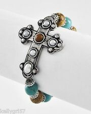 BRACELET BEAUTIFUL CROSS RELIGIOUS WESTERN TURQUOISE BROWN TAN NEW STRETCH #45-C