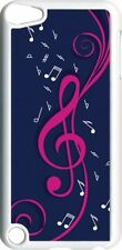 Navy Blue and Pink Treble Clef Design on iPod Touch 5th Gen 5G on White TPU Case