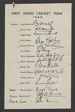 West Indies 1962 Cricket Team printed signatures sheet