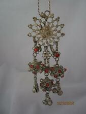 VTG SP MIDDLE EASTERN PENDANT W/ CORAL ACCENT BALLS & BELLS & CHAIN NECKLACE