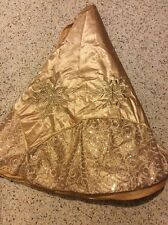 SATIN GOLD 55'ROUND CRISTMAS TREE SKIRT BEADED SEQUIN LINNED