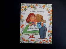 Vintage Unused Crestwick Anniversary Greeting Card Adorable Boy Kissing His Girl