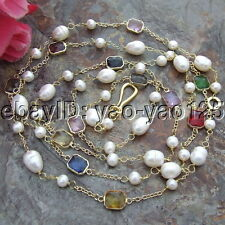 S090401 60'' White Pearl Multi Color Crystal Chain  Necklace