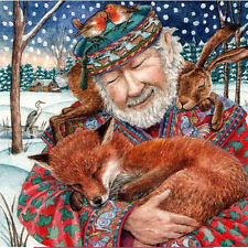 YULE XMAS GREETING CARD Storyteller PAGAN Wiccan HARE FOX SOLSTICE WENDY ANDREW