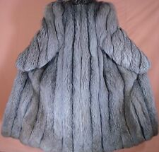 """NEIMAN MARCUS 51"""" Long Silver Fox Fur Coat Size 8-10 Free Shipping"""