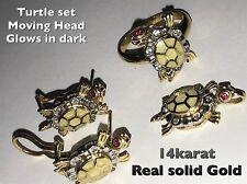 Turtle Luck Earring Ring Pendant Ea 14k Solid Gold manmade diamond Size All