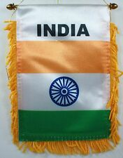 INDIA MINI BANNER FLAG GREAT FOR CAR & HOME WINDOW MIRROR HANGING 2 SIDED
