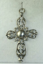 LARGE VINTAGE FANCY STERLING SILVER CROSS PENDANT FOR A NECKLACE