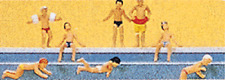 HO Preiser 10307 Children at the Pool (8) FIGURES Swimmers Bathers