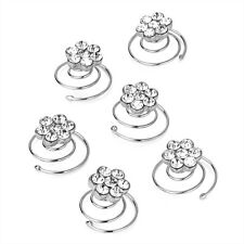 6 Crystal Flower Design Silver Hair Jewels Swirl Twist Coils Bridal Accessories