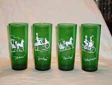 ANCHOR HOCKING FOREST GREEN,SET 4 BICYCLE FR 2/THE HANSON/GAS BUGGY/OPEN SLEIGH2