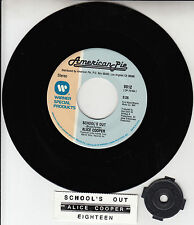 "ALICE COOPER  School's Out 7"" 45 rpm record + juke box title strip NEW RARE!"