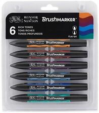 WINSOR & NEWTON BRUSHMARKER - 6 RICH TONES - TWIN TIP, ALCOHOL BASED MARKERS
