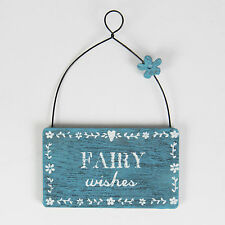 Mini Wooden Hanging Fairy Wishes Sign Plaque Decoration Gift
