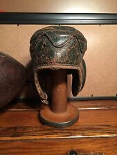 Antique leather football helmet flat top vintage