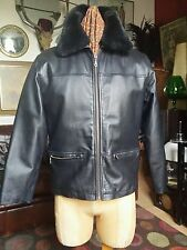 Vintage Leather Bomber Flight Jacket with Faux Fur Colar.David Conrad.Medium Vgc