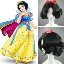 Snow White Black Short Curly Cosplay Wig Women Full Hair Wigs + Hair Accessories