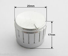 10pcs 20x17mm Silver Circular Knob Aluminium Cover for Audio Volume Tone Control