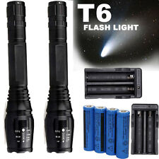 2 Sets 10000 Lumens 5 Modes CREE XML T6 LED Flashlight 18650 Battery+Charger USA