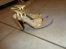 PRADA LIGHT PURPLE SUEDE & GOLD LEATHER CLASSIC PUMPS Sz 37M MADE IN ITALY