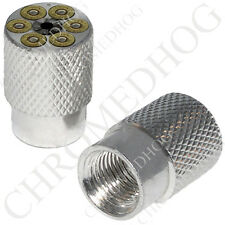 2 Silver Billet Aluminum - Tire Air Valve Stem Cap for Motorcycle - Revolver Mag