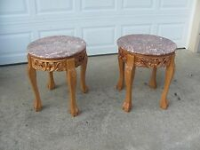 2 Marble Top Solid Wood End Tables #1769
