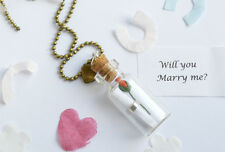 Will you marry me? Scrolled Glass Bottle Necklace, proposal, engagement, wedding