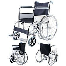 Lightweight Folding Manual Wheelchair w/ Arms Adjustable Footrest US Ship