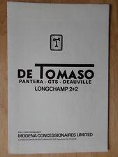 DE TOMASO RANGE orig 1974 UK Mkt Sales Brochure Pantera GTS Deauville Longchamp