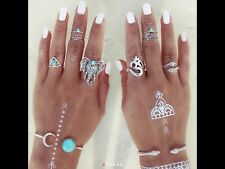 8pcs/set BOHEMIAN TURKISH MINI RING SET VINTAGE STEAMPUNK ELEPHANT RING