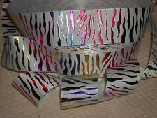 "5yds 1.5"" BLING RAINBOW METALLIC ZEBRA GROSGRAIN RIBBON 4 HAIRBOW WHITE"