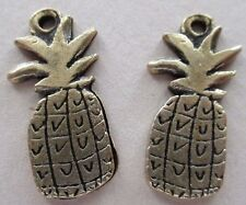 Pineapple Charms Earrings Brass Color - Detailed - You Get Two - Fruit - NEW