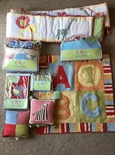 BABY CRIB BUMPER NURSERY SET COCALO ALPHABET SOUP ABC BOY GIRL RED STRIPES LOT