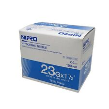 Needle Nipro 23G x 1.5 (0.6 x 25mm) Hypodermic Sterile Syringe Needles 100 / Box