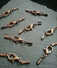 8 Sets of Antique Copper 12mm Lobster Clasps & Crimp Ends for 1 to 1.5mm Cord