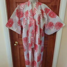 Vtg Pink and white Floral chrysanthemum Japanese Womens Kimono Robe size L