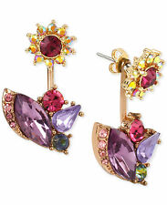 NWT Auth Betsey Johnson Rose Gold-tone Multi-crystal Front & Back Earrings