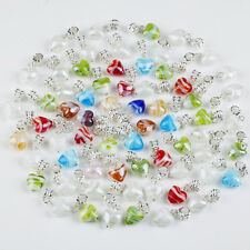 10X Murano Lampwork Flower Heart Shape Loose Charm European Dangle Peadant Bead