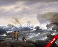 SHIPWRECK ON ROCKY COAST & ROUGH SEAS OCEAN PAINTING ART REAL CANVAS PRINT