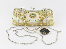 In's NWT Ivory Silk Small Clutch Handbag Gold Chain Bead Crystal Accent