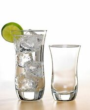 Curved Glasses 16 Piece Glass Set, Drinking Tumbler Glassware 10 & 17 Ounce