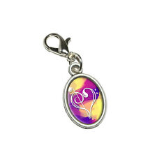 Music Heart - Love Treble Bass Clef Notes Staff Pink Oval Charm w/ Lobster Clasp