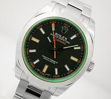 Rolex MILGAUSS 116400 Mens Stainless Steel Black Dial GREEN Crystal Ring 40MM