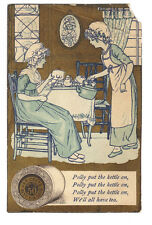 J & P Coats Thread Trade Card Polly Put the Kettle on - Kate Greenaway